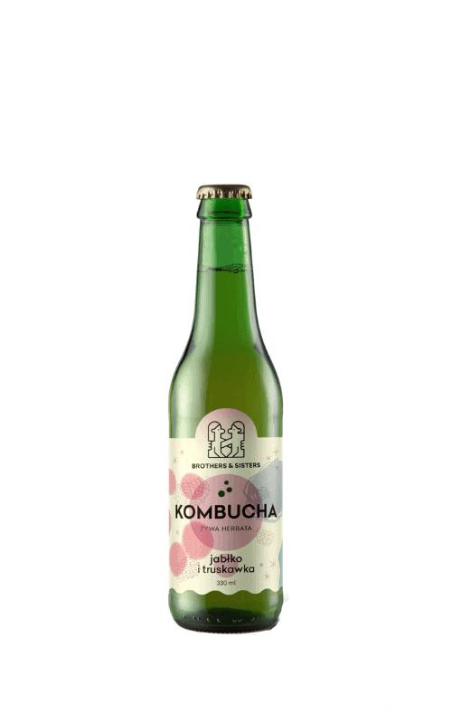 kombucha brothers truskawka, jabłko sklep, butelka 0,33l